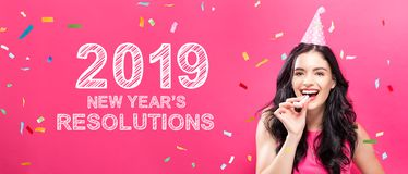 2019 New Years Resolutions with young woman with party theme. On a pink background vector illustration