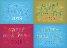 New Years Retro CArds with Artistic Floral Texts royalty free stock photography