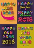 New Years Retro Cards. Happy New Year 2018 and Merry Christmas. Four retro disco cards with inscriptions by artistic font. Vector Illustration Stock Photos