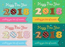 New Years Retro Cards with Sweet Donuts stock photos