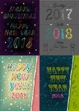New Years Retro Cards with Texts by artistic font. Happy New Year 2018 and Merry Christmas. Four retro cards with inscriptions by artistic font. Vector Stock Images