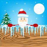 New years santa and wooden shield Royalty Free Stock Photo