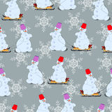 New Years, seamless pattern, snowmen on the sledge. Vector illustration Stock Photo
