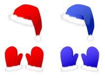 New Years set: caps and mittens Stock Photo