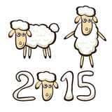 New Years sheep. New Years set of sheep isolated on white background, illustration Royalty Free Stock Photography