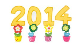 New years 2014 sign. New years 2014 number on clip against white background Stock Images