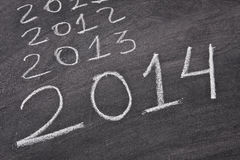 2014, new years. Slate background with the years passing perspective Royalty Free Stock Photos