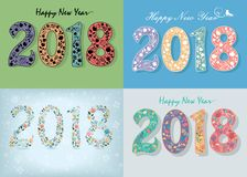 New Years Specific Cards with Floral Numbers 2018 royalty free stock photography