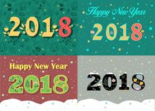 New Years Specific 2018 Cards. Floral Numbers stock images