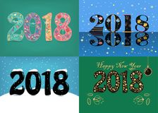 New Years Specific 2018 Cards. Floral Numbers stock photography
