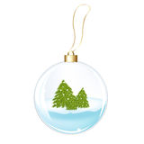 New Years Sphere With Fur-trees. Vector Royalty Free Stock Photo