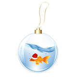 New Years Sphere With Goldfish. Vector. New Years Sphere With Goldfish, Isolated On White Background Stock Photos