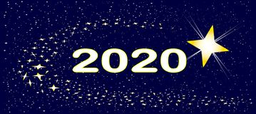 2020 New Years Star. A bright star surrounded by several star clusters with the date 2020 royalty free illustration