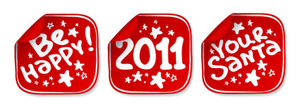New Years stickers. New Years vector stickers set Royalty Free Stock Images