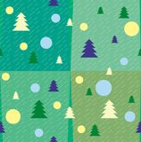 New Years texture with Christmas trees and balls. Stripes, geometric patterns and figures, cubes royalty free illustration