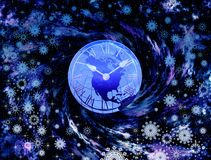 New years time. Abstraction picture with sky, time and snowflakes royalty free illustration