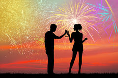 New Years toast with fireworks explosion. Illustration of New Years toast with fireworks explosion Stock Photos