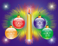 New years toys and burning candle. On a dark blue background royalty free illustration