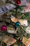 New Years tree. With money and decor Royalty Free Stock Photography