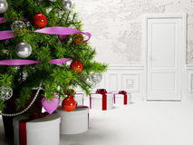 New years tree in the room. New years tree in the white room stock illustration