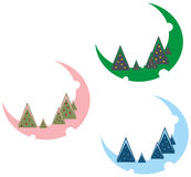 New years trees. Three illustrations from colored new years trees vector illustration