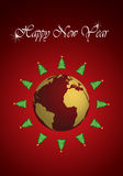 New Years Trees around the Earth Royalty Free Stock Image