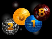 New Years Twenty  Eighteenth on disco balls. Disco Balls with 2028 New Years in Number Over Glowing Black Background Royalty Free Stock Photo