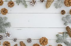 New yeat winter background with pine, fir, branches and cones. Stylish festive and cozy New year, Xmas, merry christmas royalty free stock images