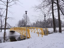 New yellow bridge, Lithuania Royalty Free Stock Image