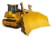 New yellow bulldozer. Isolated on white stock photo