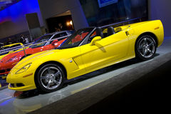 New yellow corvette c6 convertible. At British International Motorshow at Excel London - 30 july 2008 Royalty Free Stock Photo