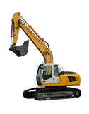 New yellow excavator. Isolated on pure white Stock Image