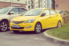 New yellow Hyundai Solaris Accent. Royalty Free Stock Images