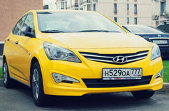 New yellow Hyundai Solaris. Royalty Free Stock Images