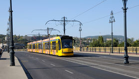New Yellow tram in Budapest Stock Images