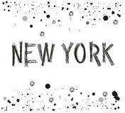 New yok city hand drawn letter with sparkling dots and paint splash poster design  Stock Photos
