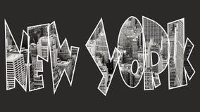New York à l'intérieur de texte sur le fond noir Photographie stock