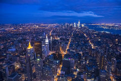 New York на ноче Стоковые Изображения