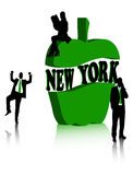 New York. Silhouette of two businessmen and business woman and symbol of NY Royalty Free Stock Image