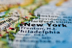 New York. On the Map in close up Stock Image