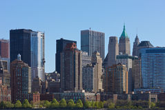 New York. Skyline of New York, seen from the Hudson river Stock Images