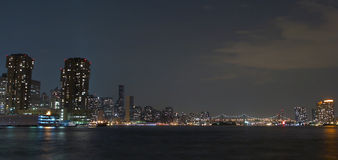 New york. Skyline of new york city , east side at night time , bridge and part of brooklyn on the left stock photo