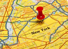 New York. Map of New York city with red push pin royalty free stock photography