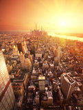New York. Future New York skyline at sunset Stock Photography