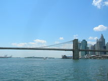 New York. View of the Brooklyn Bridge and Financial Distict from the East River royalty free stock photo
