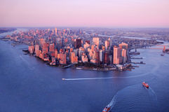 New York. Aerial view of Manhattan, downtown New York City, U.S.A Stock Photos