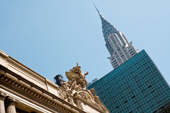 New York. Grand central station entrance and Chrysler building on the back, New York City, USA Royalty Free Stock Images