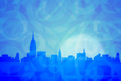 New York Abstract Colors. Skyline of New York in abstract blue shapes Royalty Free Stock Photos