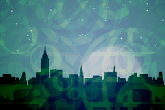New York Abstract Colors. Skyline of New York at night in abstract dark green shapes Stock Image