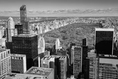 New York - aerial view of Central Park and office skyscrapers Stock Images